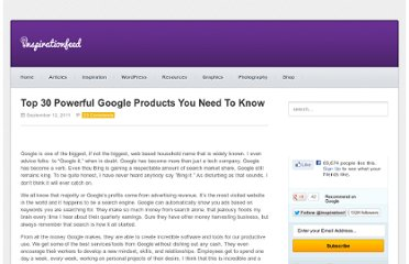 http://inspirationfeed.com/resources/tools/top-30-powerful-google-products-you-need-to-know/