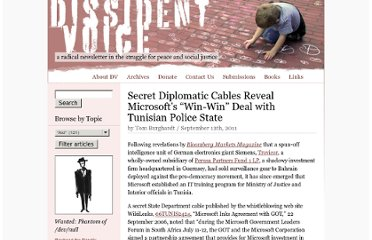 http://dissidentvoice.org/2011/09/secret-diplomatic-cables-reveal-microsofts-win-win-deal-with-tunisian-police-state/