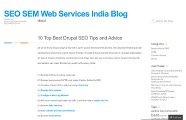 http://seosemwebservicesindia.wordpress.com/2010/08/18/10-top-best-drupal-seo-tips-and-advice/