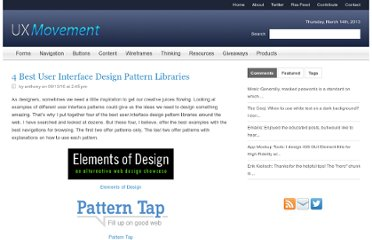 http://uxmovement.com/resources/4-best-design-pattern-libraries/