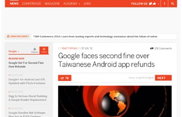 http://thenextweb.com/google/2011/07/15/google-set-for-second-fine-over-taiwanese-android-app-refunds/