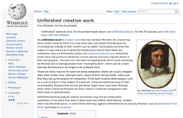 http://en.wikipedia.org/wiki/Unfinished_creative_work