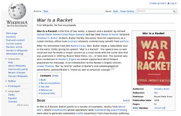 http://en.wikipedia.org/wiki/War_Is_a_Racket