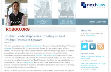 http://robgo.org/2010/05/25/product-leadership-series-creating-a-great-product-process-at-opower/