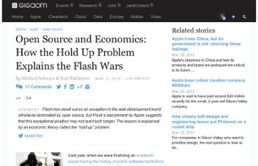 http://gigaom.com/2010/08/08/open-source-and-economics-how-the-hold-up-problem-explains-the-flash-wars/