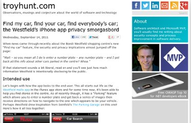 http://www.troyhunt.com/2011/09/find-my-car-find-your-car-find.html