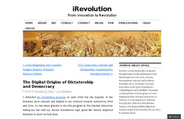 http://irevolution.net/2011/01/10/digital-origins-of-dictatorship-and-democracy/