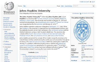 http://en.wikipedia.org/wiki/Johns_Hopkins_University