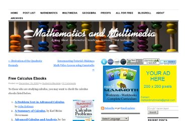 http://mathandmultimedia.com/2009/12/19/free-calculus-ebooks/