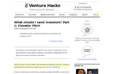 http://venturehacks.com/articles/elevator-pitch