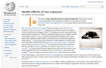 http://en.wikipedia.org/wiki/Health_effects_of_sun_exposure