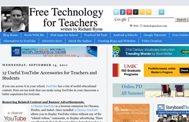 http://www.freetech4teachers.com/2011/09/12-useful-youtube-accessories-for.html