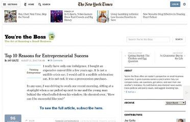 http://boss.blogs.nytimes.com/2010/08/31/top-10-reasons-for-entrepreneurial-success/