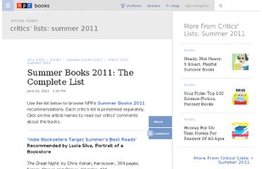http://www.npr.org/2011/08/04/136827146/summer-books-2011-the-complete-list