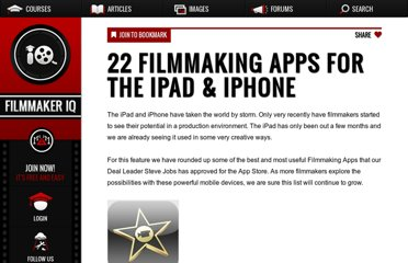 http://filmmakeriq.com/2010/07/22-filmmaking-apps-for-the-ipad-iphone/