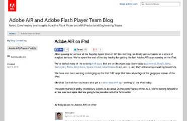 http://blogs.adobe.com/flashplayer/2010/04/adobe_air_on_ipad.html