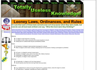 http://www.totallyuselessknowledge.com/laws.php
