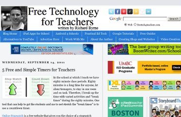 http://www.freetech4teachers.com/2011/09/5-free-and-simple-timers-for-teachers.html
