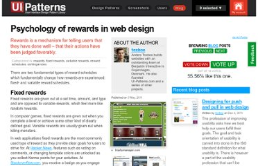 http://ui-patterns.com/blog/Psychology-of-rewards-in-web-design