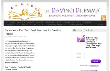http://davincidilemma.com/2010/08/facebook-part-2-best-practices-for-creative-people/