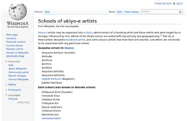 http://en.wikipedia.org/wiki/Schools_of_ukiyo-e_artists