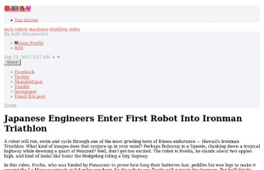 http://gawker.com/5840544/japanese-engineers-enter-first-robot-into-ironman-triathlon