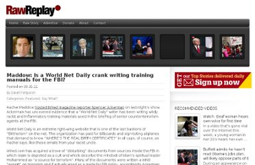 http://www.rawstory.com/rawreplay/2011/09/maddow-is-a-world-net-daily-crank-writing-training-manuals-for-the-fbi/