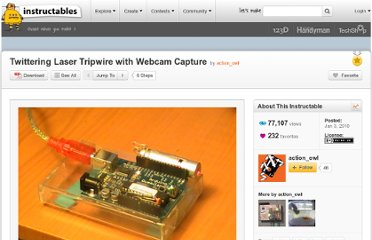 http://www.instructables.com/id/Twittering-Laser-Tripwire-with-Webcam-Capture/