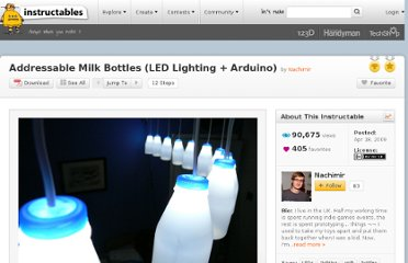 http://www.instructables.com/id/Milk-Bottle-LED-Lights-Arduino-Controlled/