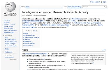 http://en.wikipedia.org/wiki/Intelligence_Advanced_Research_Projects_Activity