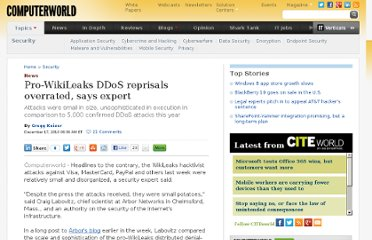 http://www.computerworld.com/s/article/9201458/Pro_WikiLeaks_DDoS_reprisals_overrated_says_expert
