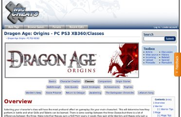 http://wikicheats.gametrailers.com/Dragon_Age:_Origins_-_PC_PS3_XB360/Classes