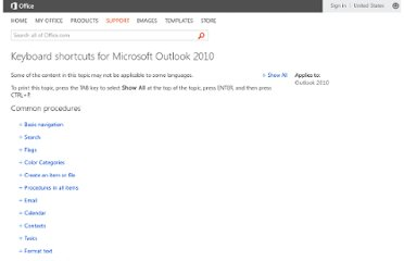 http://office.microsoft.com/en-us/outlook-help/keyboard-shortcuts-for-microsoft-outlook-2010-HP010354403.aspx