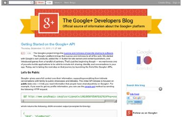 http://googleplusplatform.blogspot.com/2011/09/getting-started-on-google-api.html