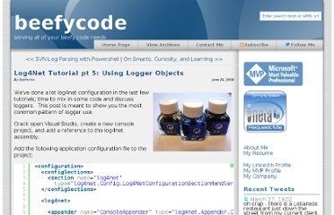 http://www.beefycode.com/post/Log4Net-Tutorial-pt-5-Using-Logger-Objects.aspx