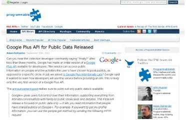 http://blog.programmableweb.com/2011/09/15/google-plus-api-for-public-data-released/