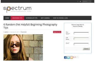 http://www.spectrumphotographytips.com/6-random-yet-helpful-beginning-photography-tips.html
