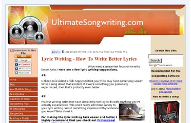 http://www.ultimatesongwriting.com/lyric-writing.html
