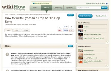 http://www.wikihow.com/Write-Lyrics-to-a-Rap-or-Hip-Hop-Song