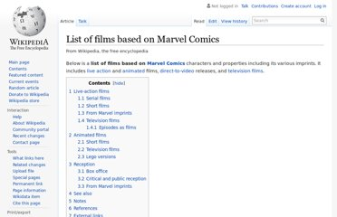 http://en.wikipedia.org/wiki/List_of_films_based_on_Marvel_Comics