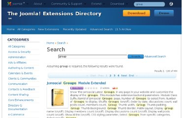 http://extensions.joomla.org/search?q=group