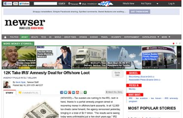 http://www.newser.com/story/128704/12000-take-irs-amnesty-deal-for-offshore-loot.html