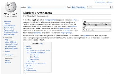http://en.wikipedia.org/wiki/Musical_cryptogram