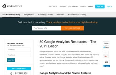 http://blog.kissmetrics.com/google-analytics-resources-2011/