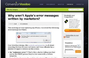http://www.conversionvoodoo.com/blog/2010/06/why-arent-apples-error-messages-written-by-marketers/