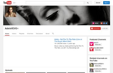 http://www.youtube.com/user/AdeleVEVO