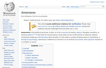 http://en.wikipedia.org/wiki/Awareness