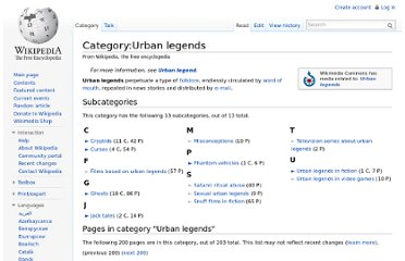 http://en.wikipedia.org/wiki/Category:Urban_legends