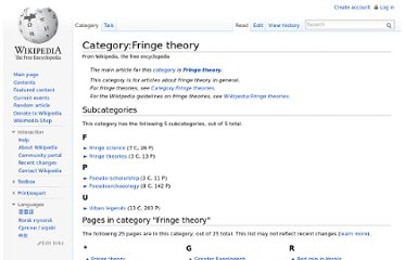 http://en.wikipedia.org/wiki/Category:Fringe_theory