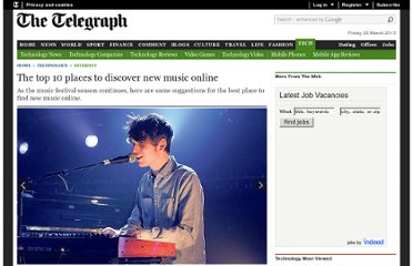 http://www.telegraph.co.uk/technology/internet/8624055/The-top-10-places-to-discover-new-music-online.html